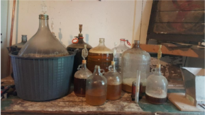 A Collection of sour beers in carboys
